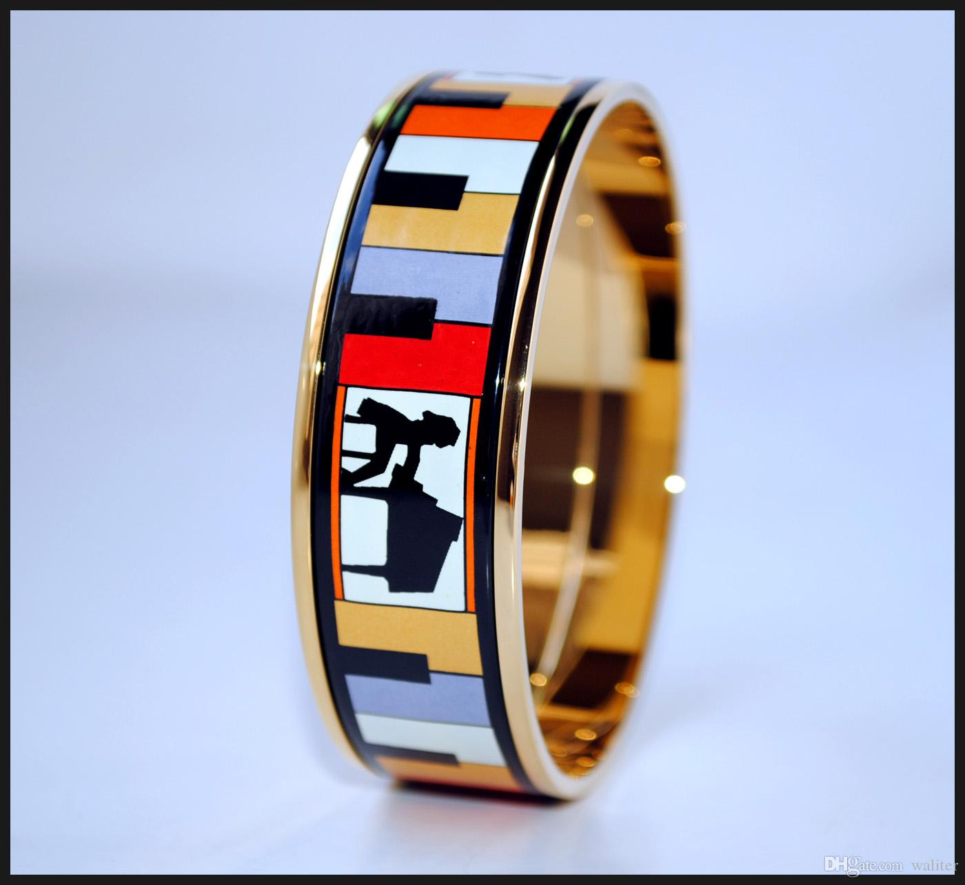 Playing Music Series 18K gold-plated enamel bangle bracelet for woman Top quality bracelets bangles width 20mm Fashion jewelry