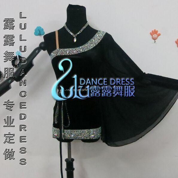 커스텀 라틴 댄스 드레스 라인 스톤 의상 무용 무대 의상 ChaCha 댄스 의상 여성의 검은 색 댄스 의상 드레스