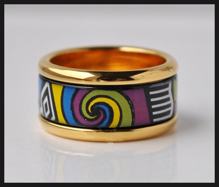 Allen Memorial Series anillos de esmalte chapados en oro de 18 quilates Anillo de calidad superior para anillos de bandas de mujeres para regalo