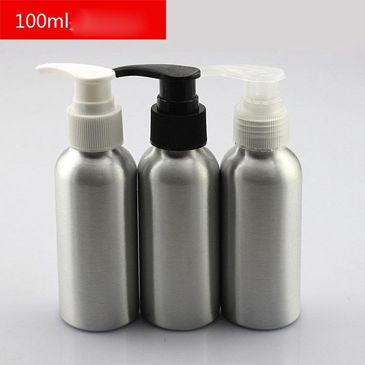 Новый (30 шт./лот)100 мл пустой лосьон насос алюминиевые бутылки / контейнер 3.5 унции алюминиевый насос контейнер жидкое мыло