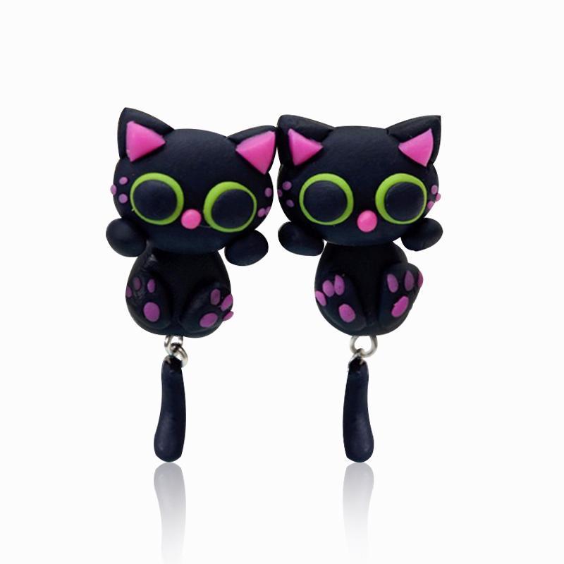أزياء القطة السوداء الأقراط اليدوية بوليمر كلاي أقراط الكرتون الوردي الأذن diy الحيوان مربط القرط للنساء