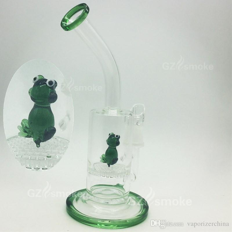 2016 Two Functions small frog Funny Colorful Animal heady glass water pipes bong Green Swan Eagle Honeycomb dab Oil Rig Bongs hookah beaker