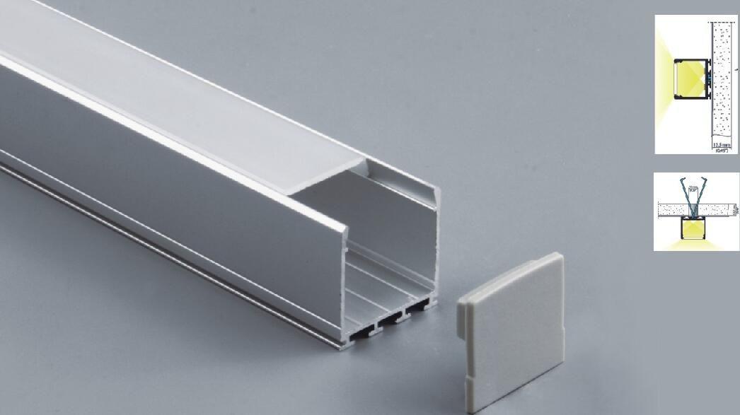 Бесплатная доставка 50pcs / серия, 2 м / 80inch, квадратная форма водить шкафа бар света профиль с крышкой для водить жесткой полосы