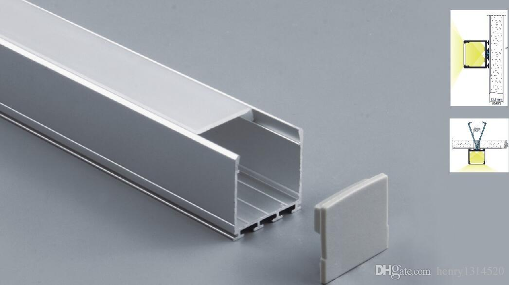 Livre 50pcs envio / lot, 2m / 80inch; forma quadrada levou gabinete perfil luz bar com cobertura para tira rígida levou