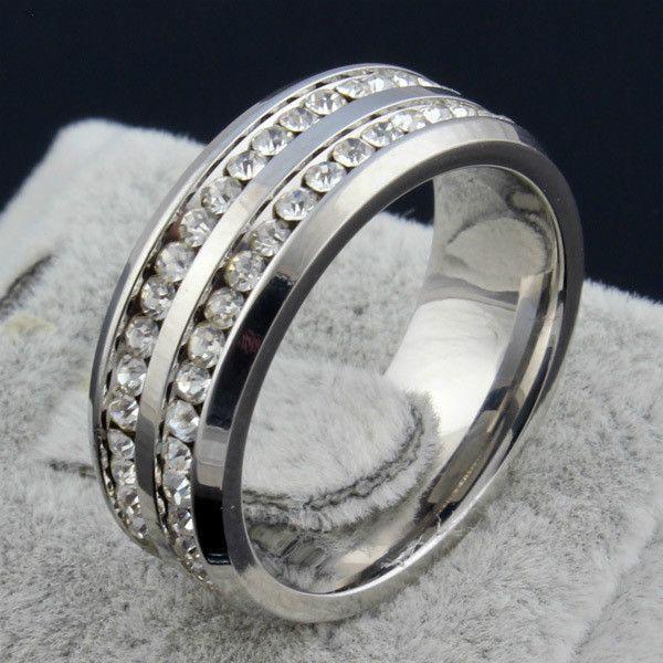 Moda Feminina 2 linhas CZ Anéis de diamante Por Atacado S925 cor prata Anéis De Casamento Em Aço Inoxidável Para As Mulheres Partido Jóias