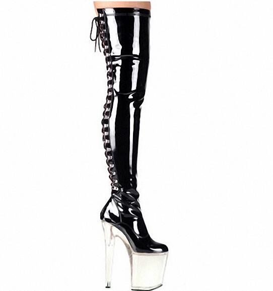 d54f63084f 20cm High Heel over knee pole dancing boots black thigh high boots fetish 8  inch platform