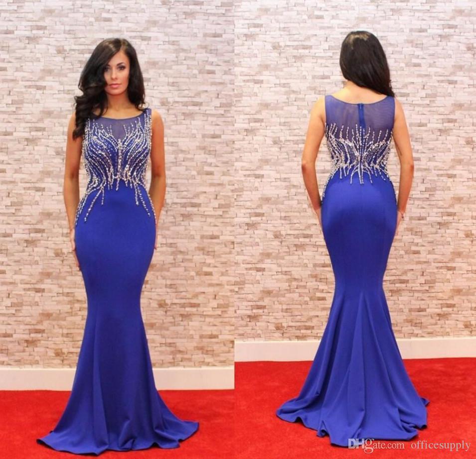 élégante robe longue soirée bleu marine cou 2020 o perles femmes robe de dîner mince robe pageant pour la fête de bal formelle