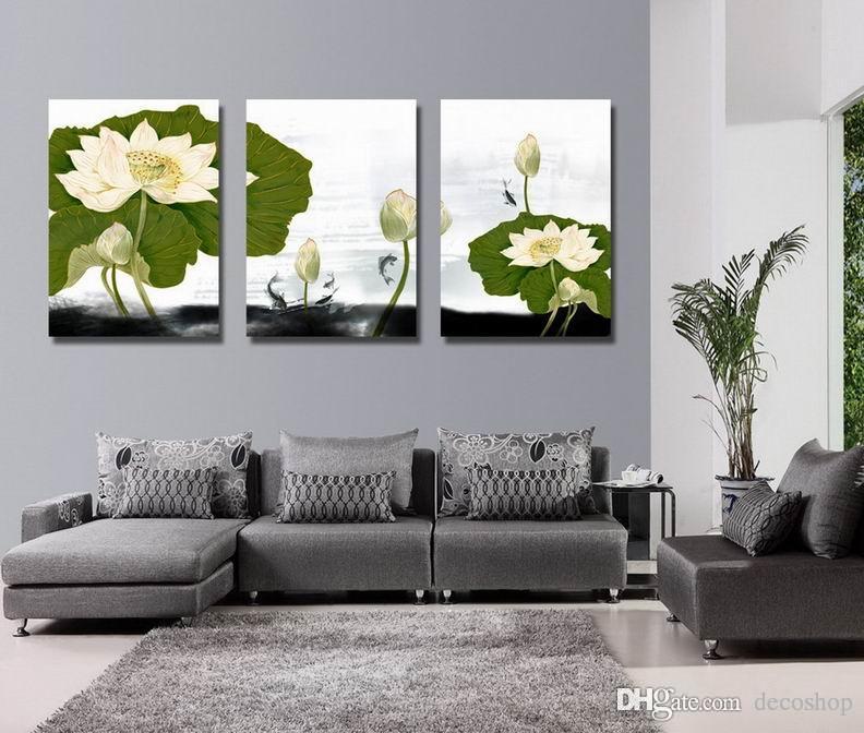 Giclee 인쇄 캔버스 벽 예술 수련 꽃 현대 꽃 그림 홈 장식 Set30406