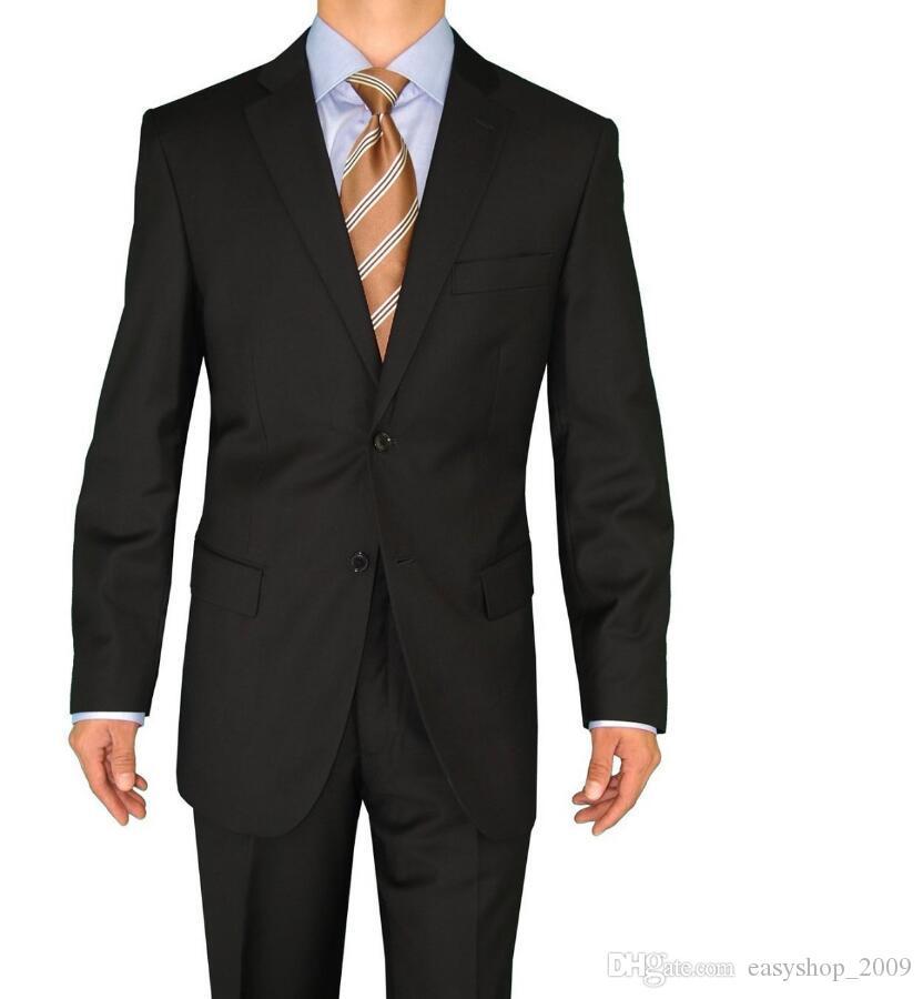 Tuxedos su misura Tuta da uomo classica classica da uomo Abito da sposo nero abito da sposa 2 bottoni Notch Risvolto (giacca + pantaloni)
