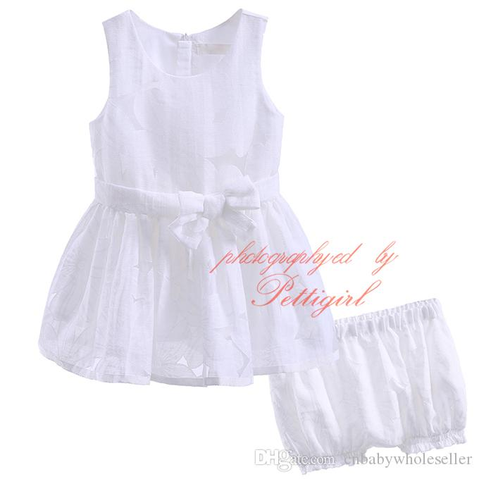 New Fashion Pettigirl Solid White Tulle Clothing Set For Infant And Toddler Girls Floral Print Shorts Bowknot Tops Baby Wear CMCS90315-274