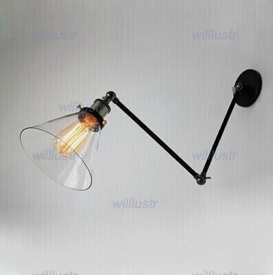 Loft-industrielle Wandlampe RH-Designerlampenart, die alte Weisen Glasfalte neben Bettkegel-Klammerlichtstudie-Glaswandleuchter wieder herstellt