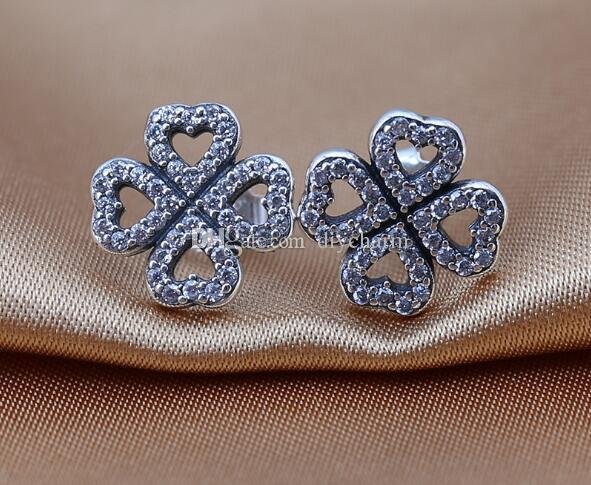 d6d92091c High-quality Stud Earring S925 Sterling Silver Romantic Four Leaf Clover  With CZ 2016 Valentine's Day gift fits for pandora jewelry