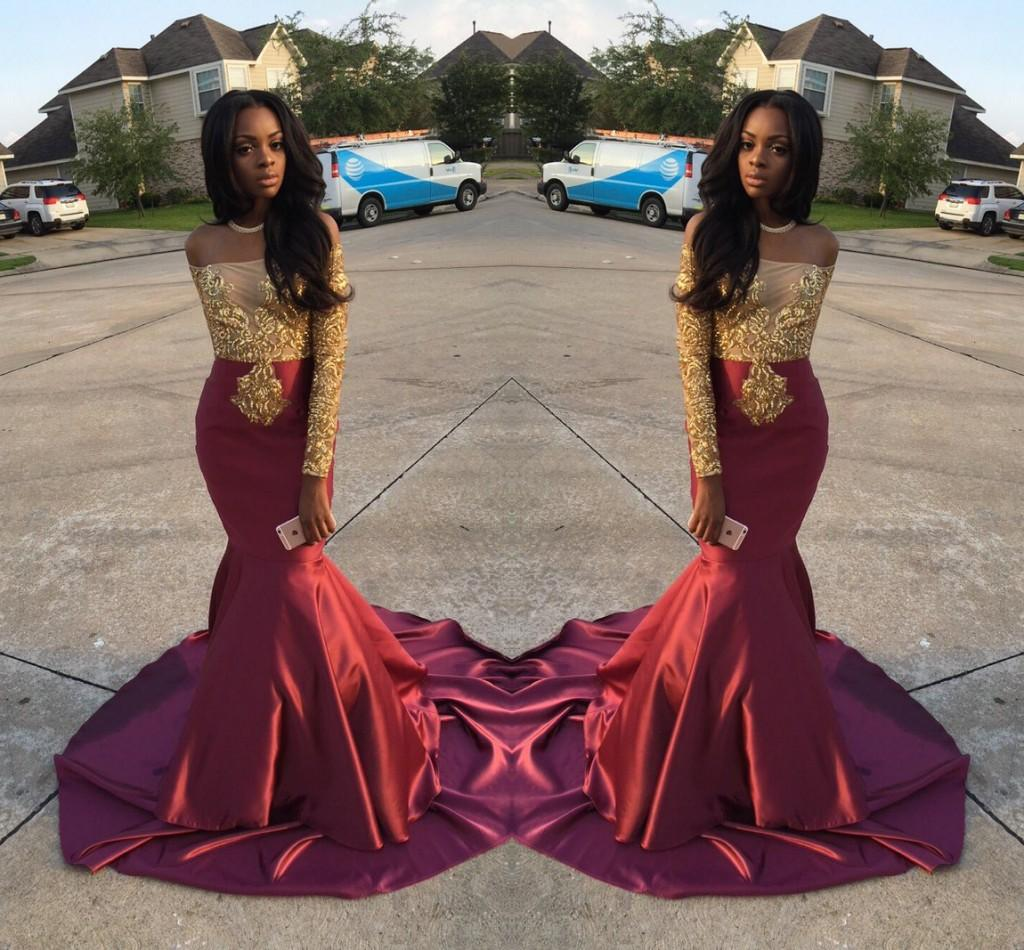 매력적인 아프리카 스타일 숄더 웨딩 드레스 오프 2016 골드와 부르고뉴 이브닝 가운 검은 여자 긴 소매 스위프 정장 드레스