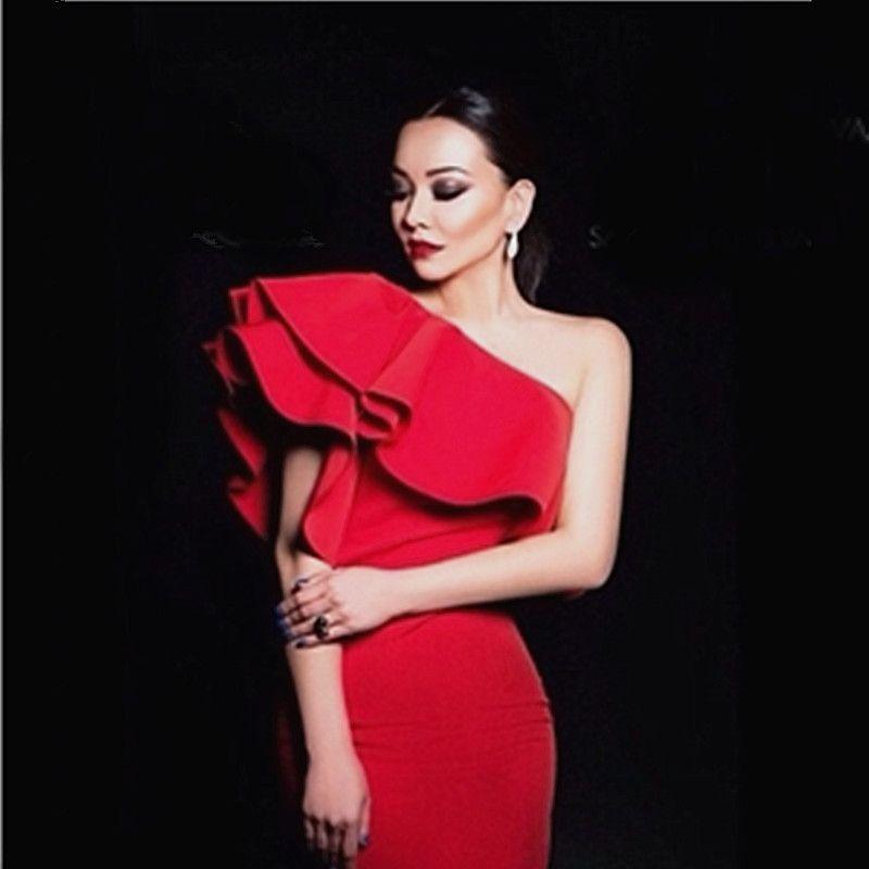 61c321599d46 Ruffle Dress 2016 Hot Spring Women One Shoulder Bodycon Dress Sexy Red  Black Midi Blue Khaki Sleeveless Party Club Mini Dresses