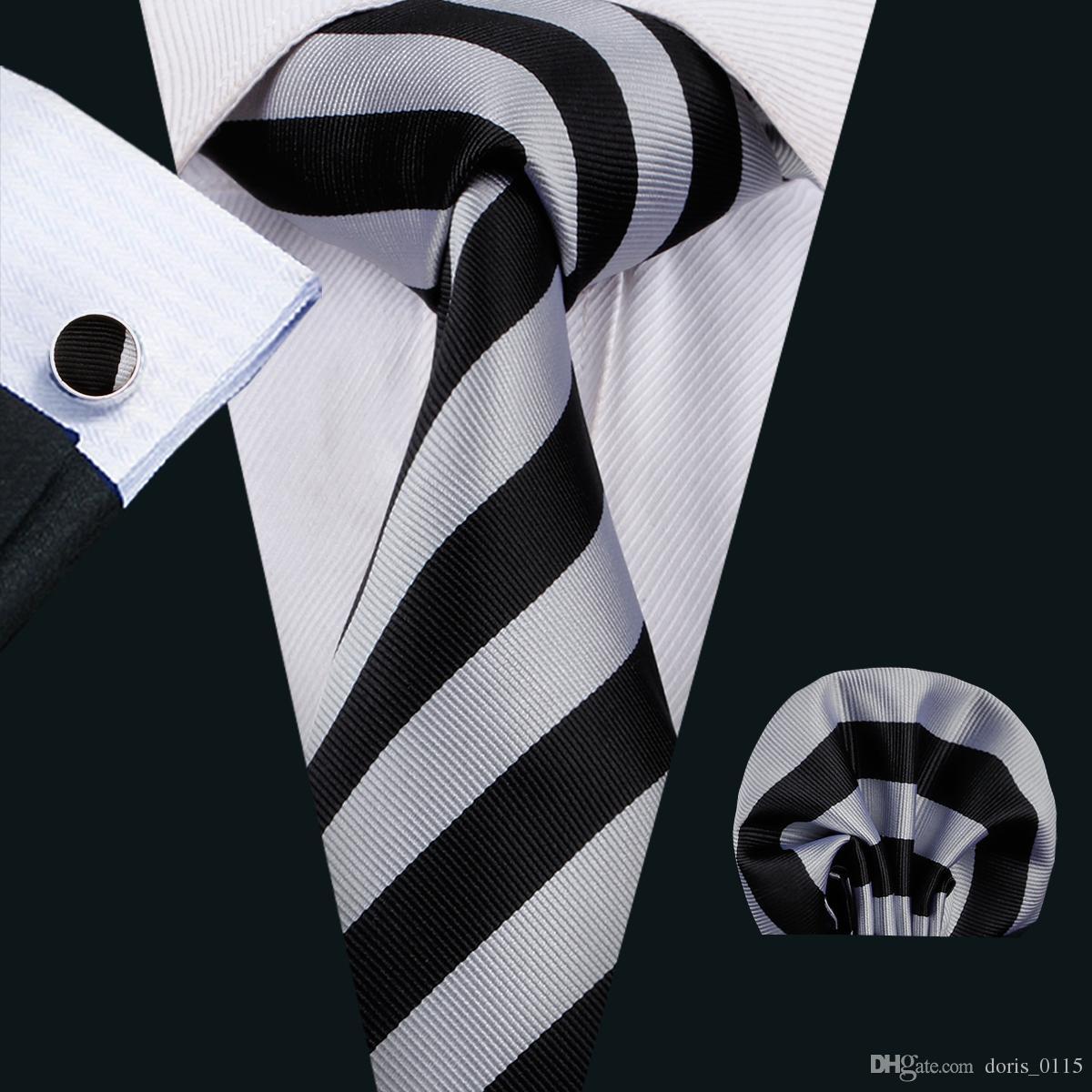 Classic Silk Ties for Men Setips Tie Sets White&Black Mens Necties Tie Hanky Cufflinks Jacquard Woven Meeting Business Wedding Party N-1501