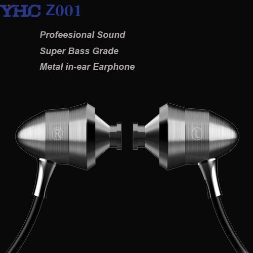 Originale YHC Z001 Metallo professionale di qualità del suono Heavy Bass auricolari in-ear HIFI con microfono per iPhone xiaomi samsung mp3 mp4 Spedizione gratuita