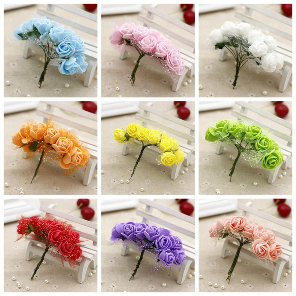 12pcs/lot 2.5CM head Multicolor PE Rose Foam Mini artificial silk Flowers Bouquet Solid Color/wedding decoration