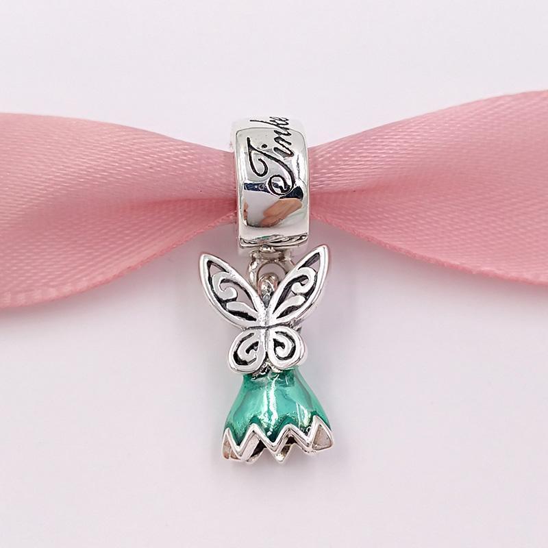 Authentic 925 Branelli in argento DSN Tinker Bell's Dress Glittering Green Smalto Charms Adatto Bracciali europei di gioielli in stile Pandora 792138In93