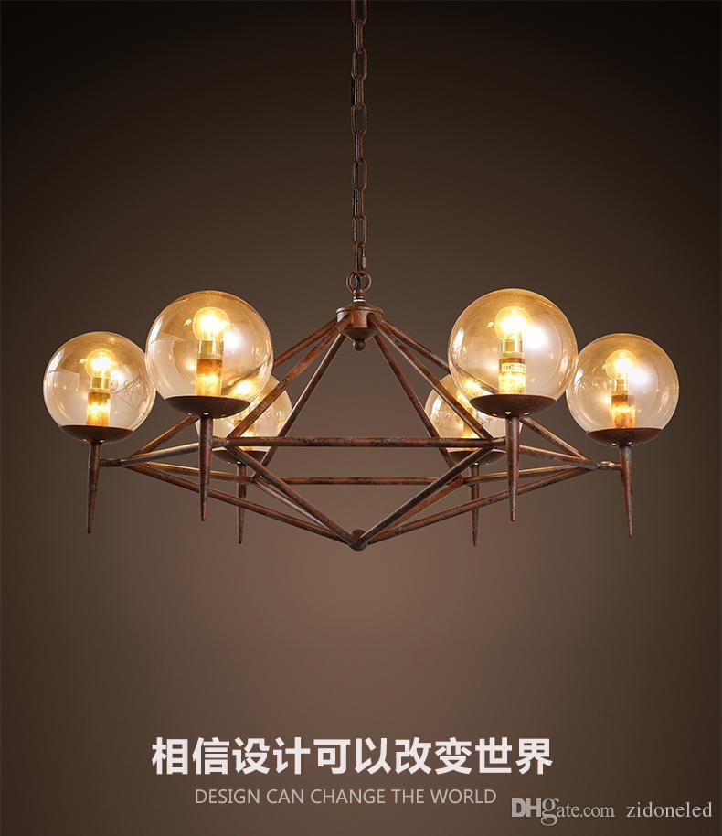 vintage industriel LED verre pendentif Amérique style restaurant vêtements café décoration Iron ADN modo magique lumière pendante
