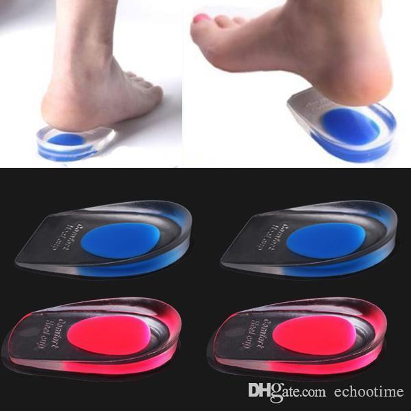2000 pz = 1000 paia Solette in gel di silicone Cuscinetto per tallone Coppe per la cura dei piedi Sperone calcaneale Cura elastica Inserti per scarpe a mezza soletta