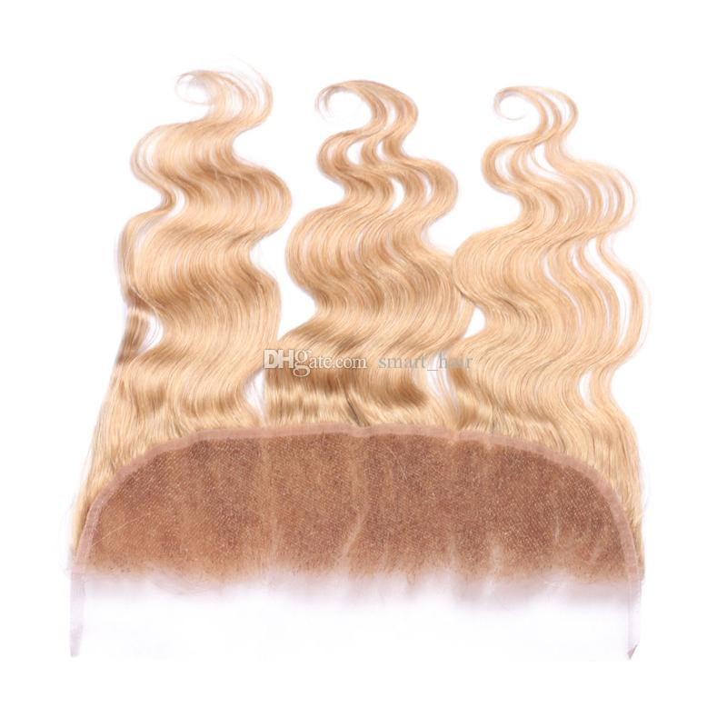 New Arrival 9A Human Hair Ear To Ear Full Lace Frontals Honey Blonde Pure Color #27 Body Wave Wavy Lace Frontal 13x4For Woman