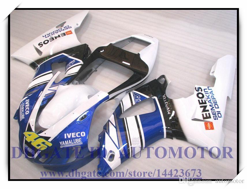 INYECCIÓN NUEVO kit de carenado 100% FIT PARA YAMAHA YZFR1 1998 1999 YZF R1 98 99 YZF1000 YZF R1 1998-1999 # SH836 WHITE BLUE