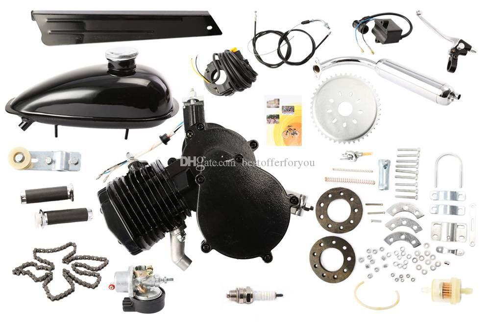 Brand New 80cc 2-Takt Zyklus Fahrrad Motorisierte Gas Motor Kit SCHWARZ Motor Chrom Schalldämpfer
