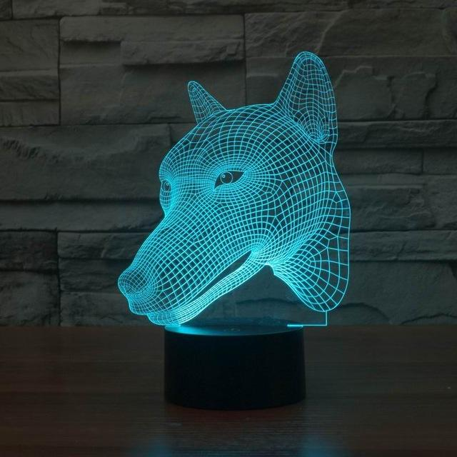 Simple and Modern 3D Dog Head Design LED Atmosphere Lamp Lighting night light Tabletop with USB line