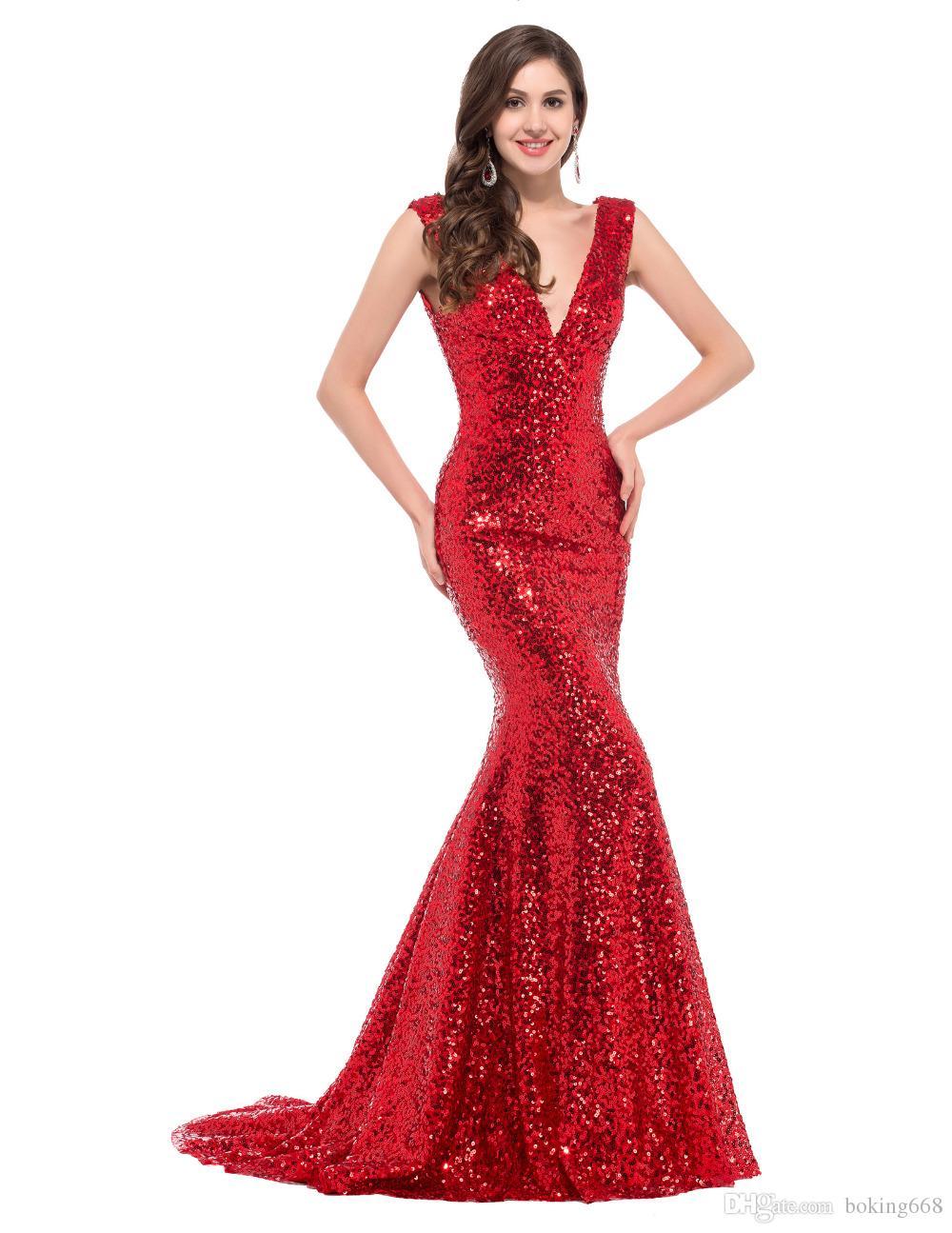 Pas cher Longue-Rouge Parti Sequin robes de soirée 2019 sexy trompette sirène récent robe d'or formelles Robes Robe de soirée Custom Made
