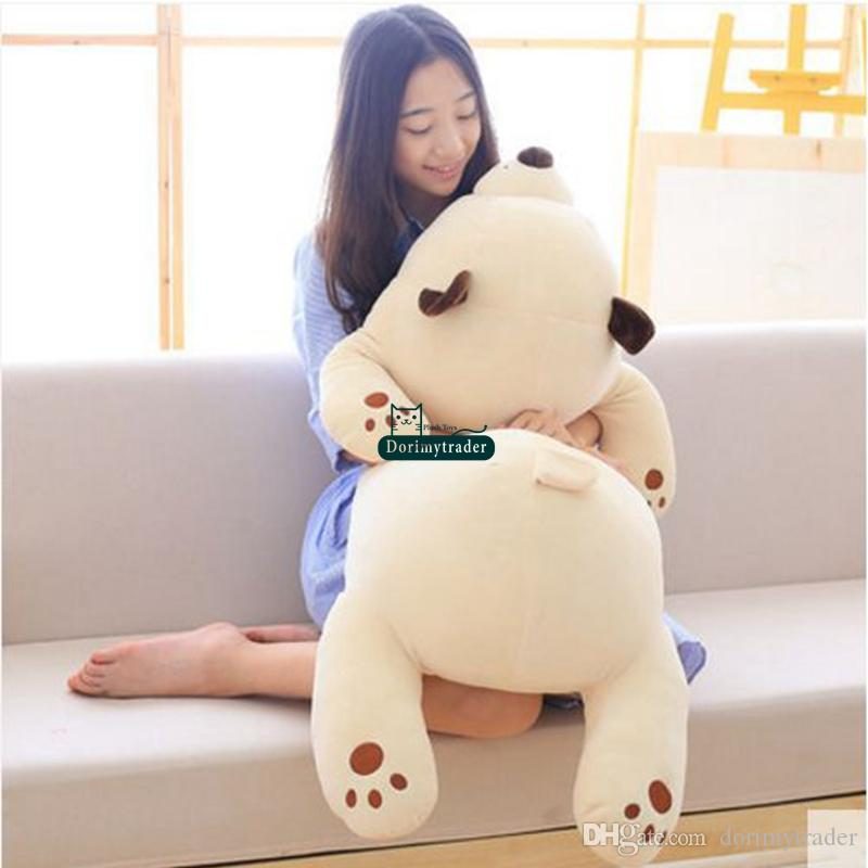 Dorimytrader Big Lovely Soft Cartoon lying Bear Plush Toy Pillow Stuffed Anime Sleeping Bears Doll Gift for Babies 80cm 100cm DY61741