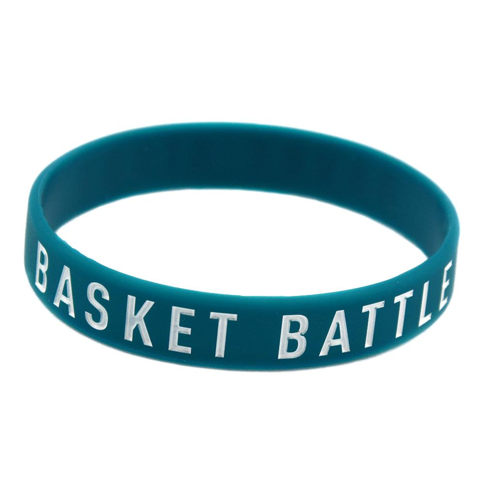 1PC Basket Battle Never Stops Silicone Wristband Sport Gift Debossed and Ink Filled Logo Blue Adult Size