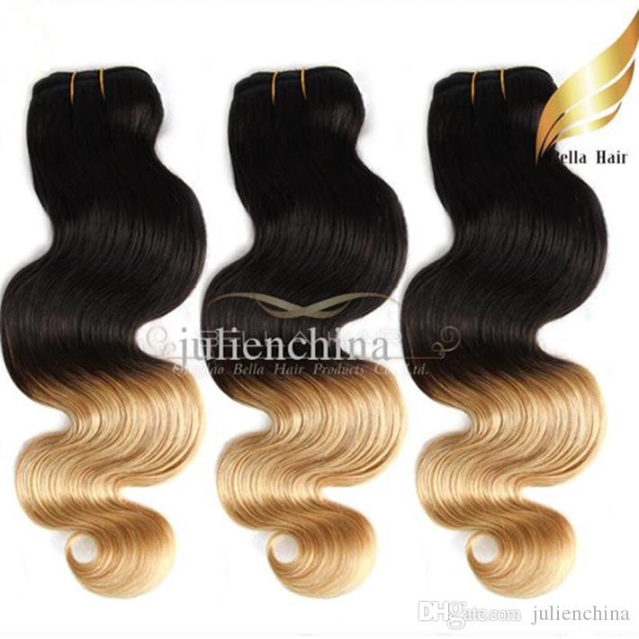 Brazilian Ombre Hair Human Hair Extension Body Wave Wavy Hair Weaves Dip DyeT#1B/#27 Color Ombre Human Hair Free Shipping Bella Hair