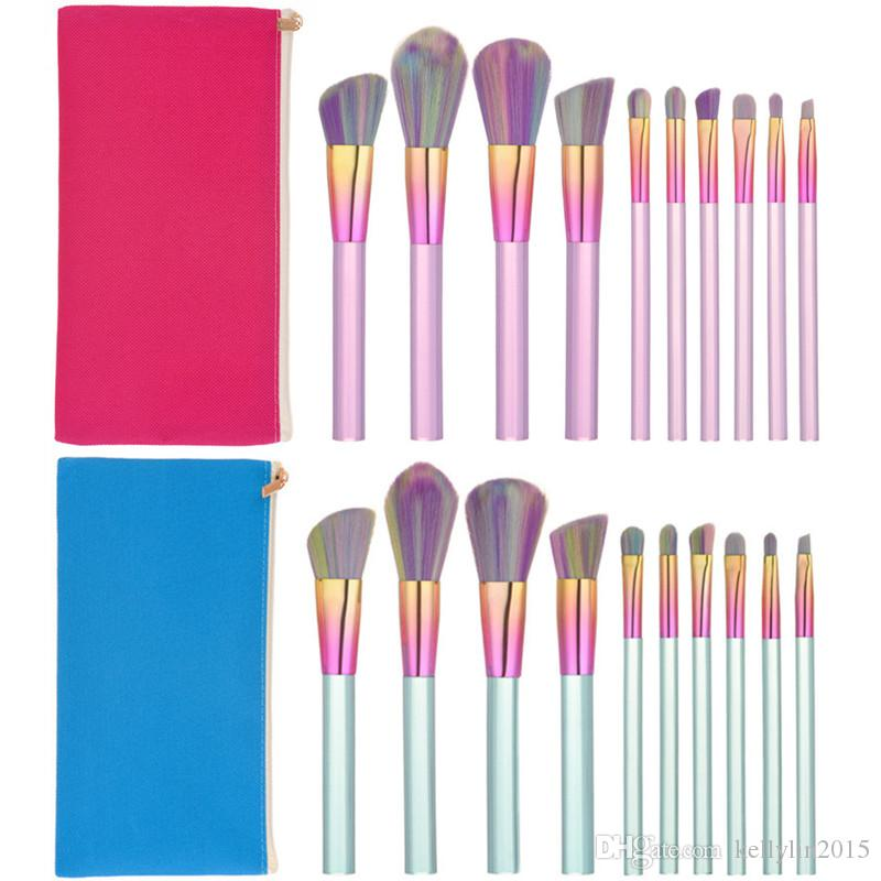 Cystal Makeup Brushes Sets 10pcs Rainbow Soft Hair Foundation Concealer Brush Cosmetic Kit Kabuki Make Up Brushes Tools