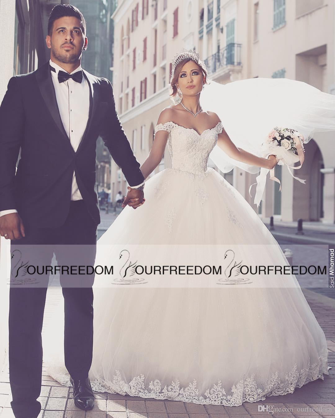 2016 Saudi Arabic Off The Shoulder Wedding Dresses Lace Appliques Ball Gown Puffy Tulle Castle Bridal Said Mhamade New Design 2018 From