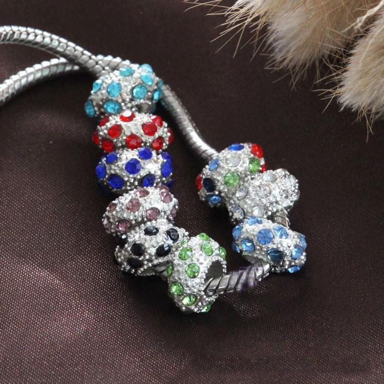 Fashione !!! 8 colori nuovo 10mm strass di cristallo rotondo grande foro borda i monili europei adatti del braccialetto di fascino DIY