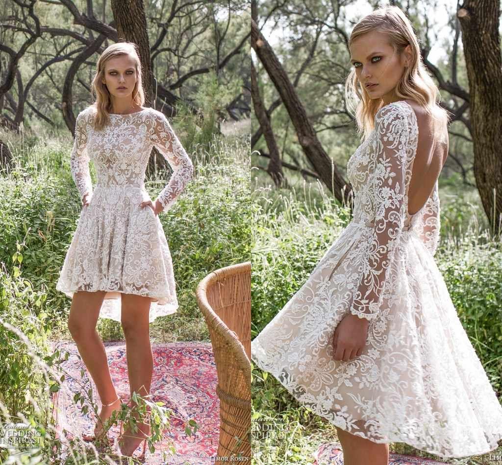 Sexy Open Back Full Lace Short Wedding Dresses Hi Lo Sheer Long Sleeves Cheap Garden Country Boho Bridal Bridal Wedding Gowns