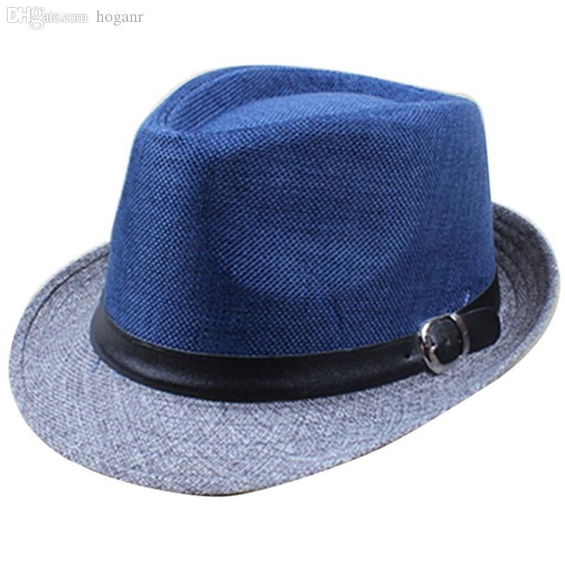 Atacado-2016 Marca Homens De Verão Fedora Cool Chapéus Fashion Wide Brim Chapéus Meninos Gangster Caps