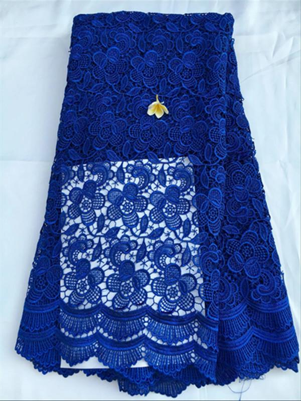 Hot sale royal blue color african party cord lace with flower embroidery water soluble guipure lace fabric for dressing QW15-1