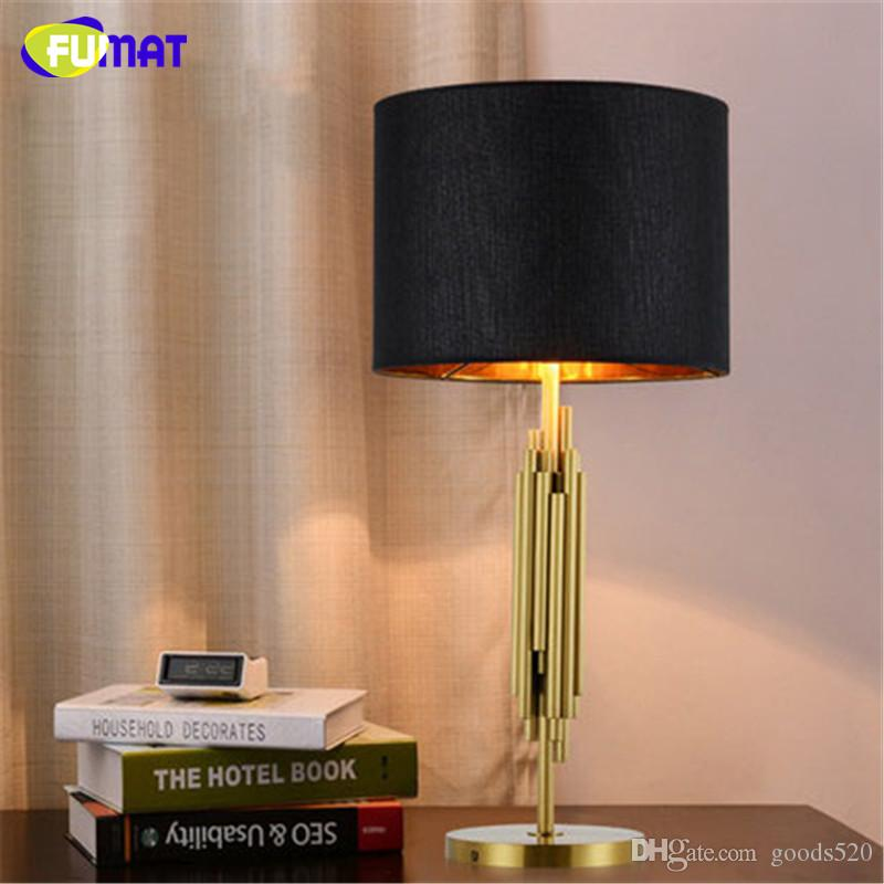 FUMAT Luxury Besides Lamps Brush Gold Table Lamps Office Living Room Study Table Light Modern Art Classic Fabric Table Lamp