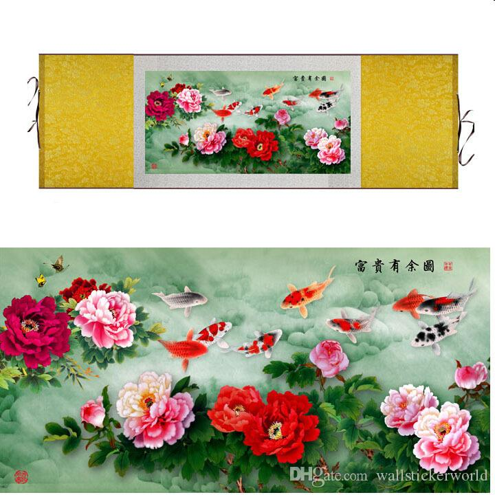 1 Piece Peony Flower And Fish Home Office Decoration Chinese Scroll Silk Wall Art Poster Picture Painting For Living Room