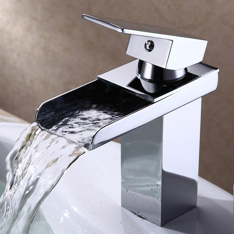 Solid Brass Basin Faucet Hot&Cold Water Tap Single Handle Wash Chrome Finish Waterfall Bathroom Sink Mixer Taps With Hose