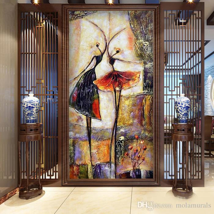 Moderne Mädchen Tapeten Balletttanz Mädchen Tapeten Wandbilder Schöne Vliestapeten für den Eingangsbereich papel de parede