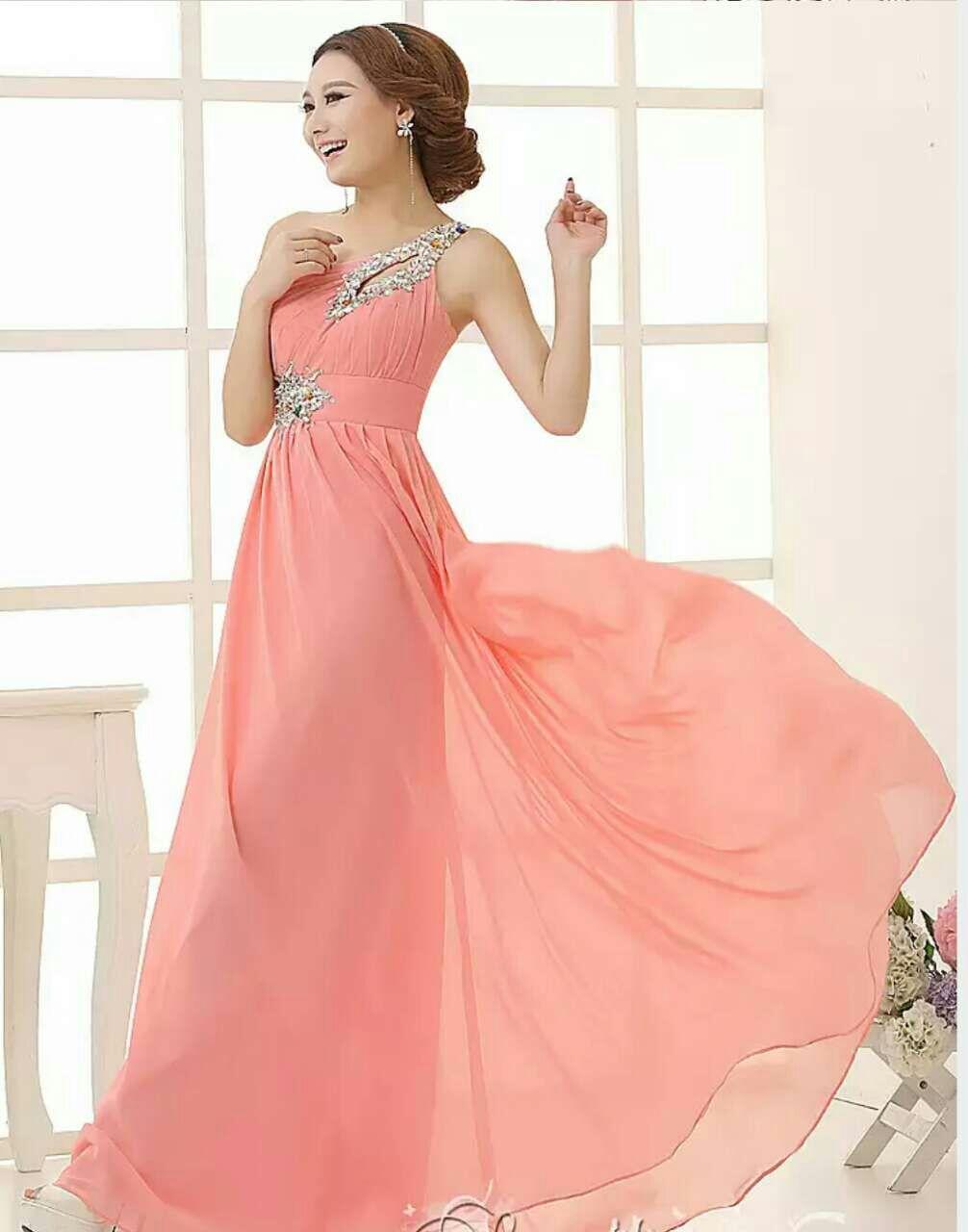 Vestido largo de dama de honor de gasa plisada con un hombro, vestido de fiesta hasta el suelo con cuentas de cristal 2019 y encaje hasta