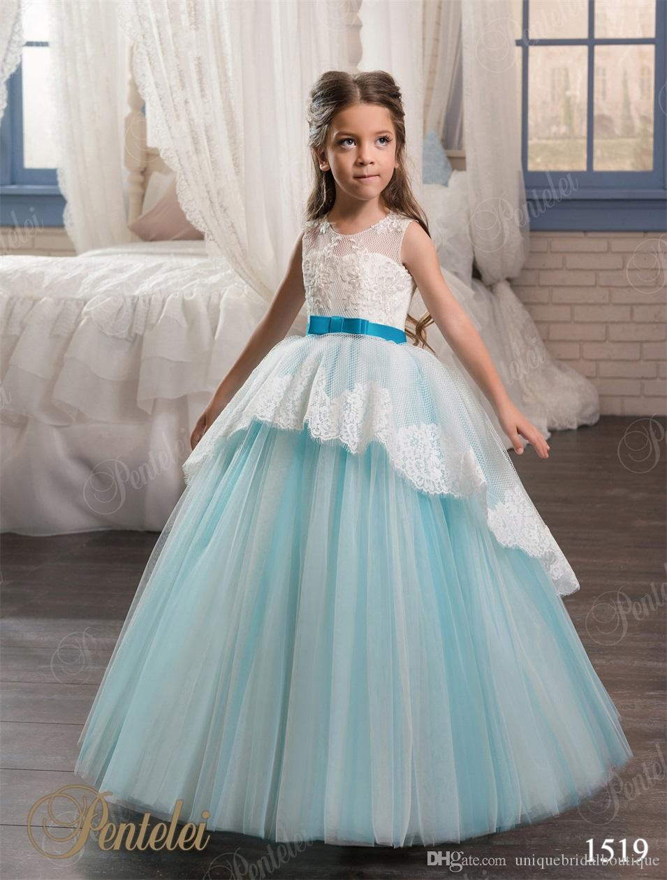 girls wedding dresses 2017 pentelei with lace up back and bow sash  appliques tulle sky blue flower girls gowns for weddings canada 2019 from
