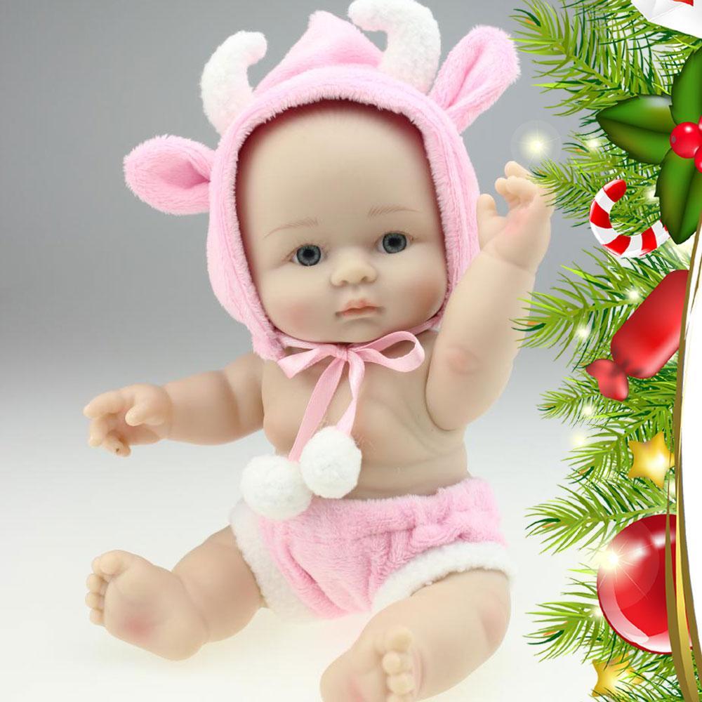 Muñeca Viva Hermosa Mini Renacida con Traje de Oveja Rosada Cuerpo Completo de Silicona Realista Muñeca Realista