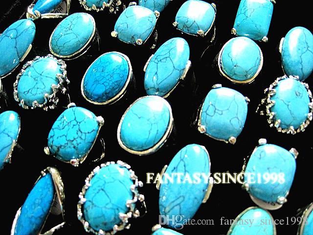 새로운 25PCS 혼합 스타일 여성 터키석 금속 합금 빈티지 레트로 쥬얼리 반지 도매 대량 롯