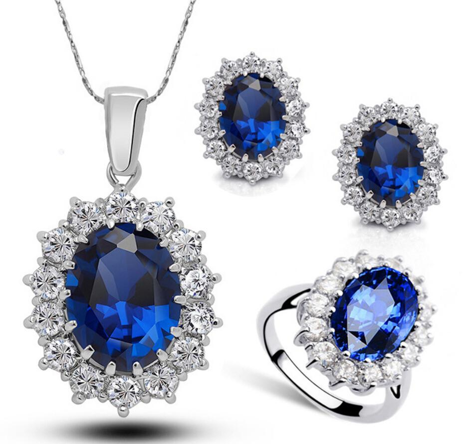Princesse Diana Kate Royal Wedding Bague Bleu Sapphire Gemstone Bijoux Set Bague + Boucles d'oreilles + Collier