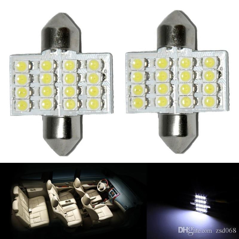 """100x / lot blanc 1,25"""" 31mm lampes 16-LED-5050 DE3175 LED pour intérieur Dôme Carte diy"""
