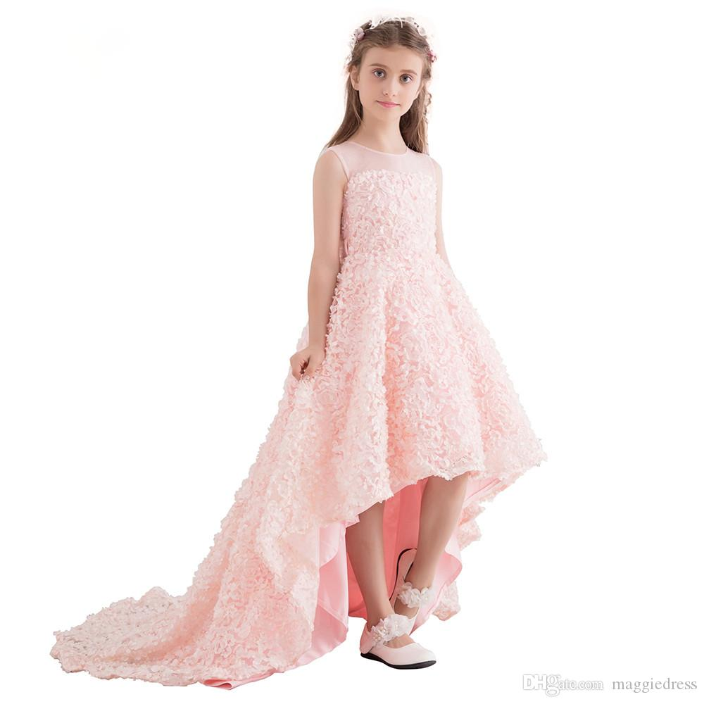 Flower Girls Dress High Low Lace Teens Wedding Party Gowns Kids Children Clothes