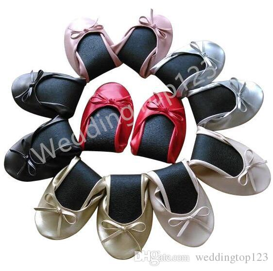 Free shipping ! Roll Up Fold Pumps Flats after Party Shoes Pocket WITH Foldable Bag